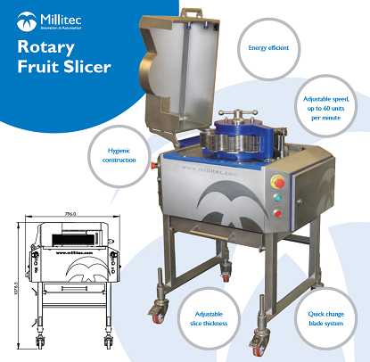 Millitec rotarty fruit slicer. Hygienic fruit slicing. Industrial tomato slicer
