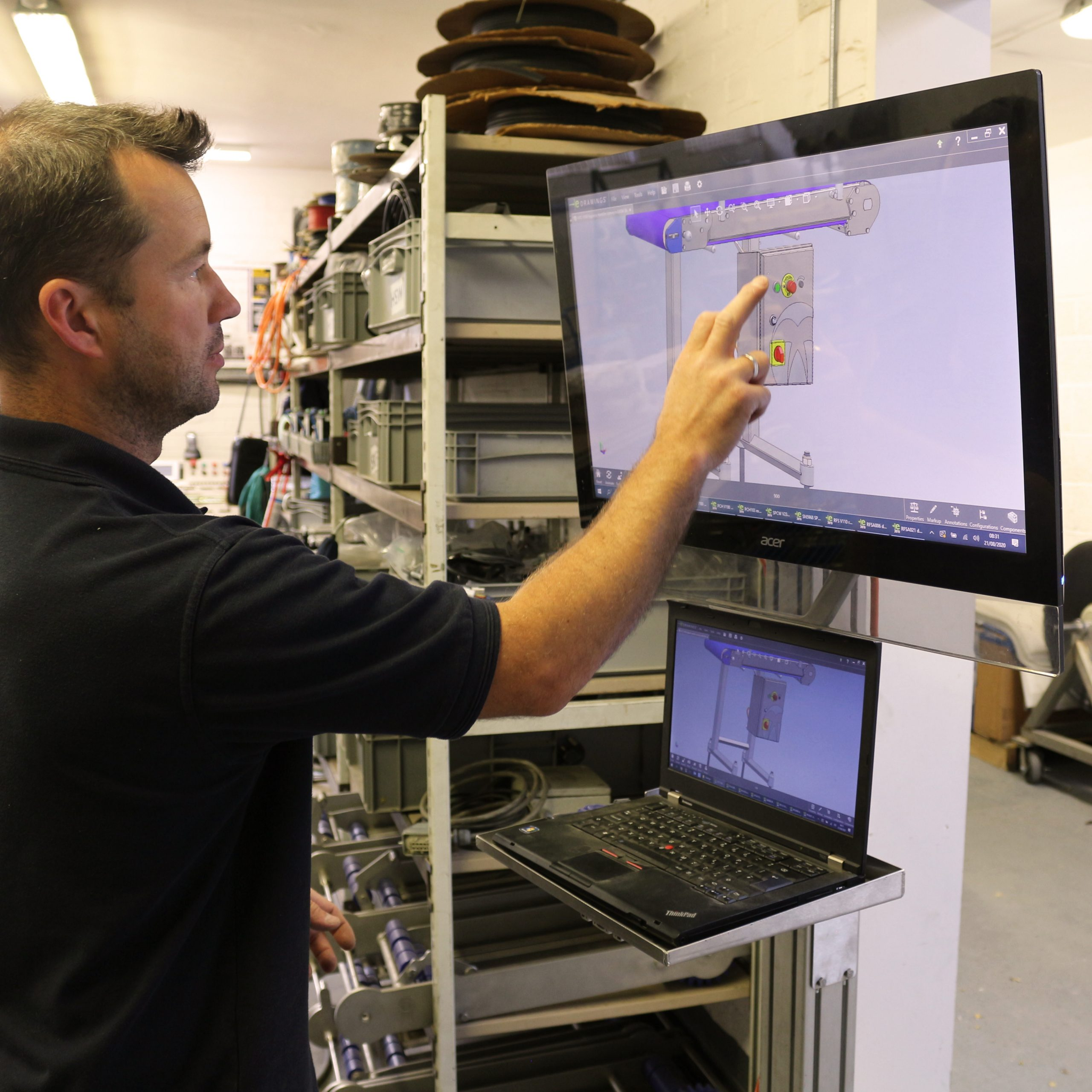 electrician working on touchscreen