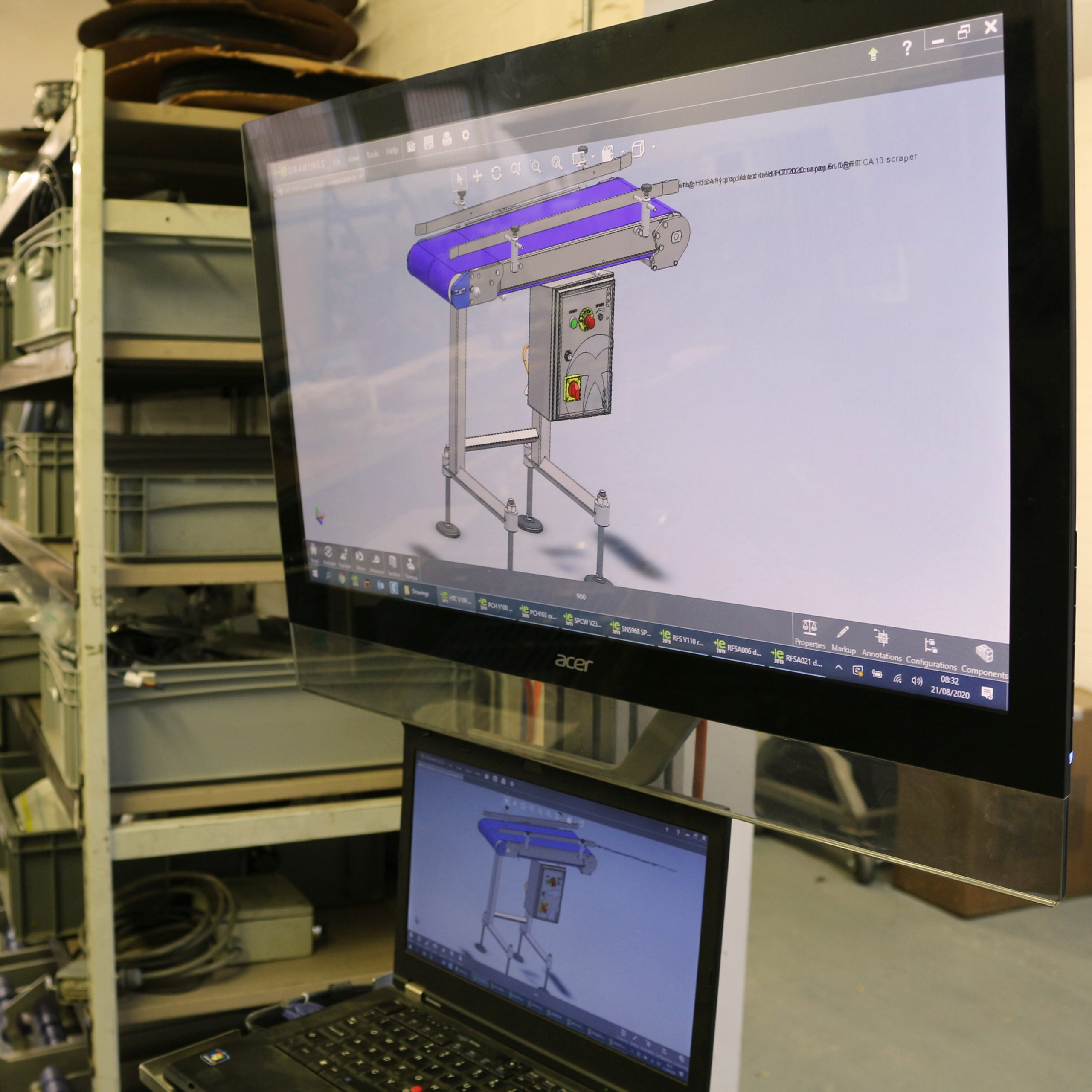 touchscreen showing machine model for assembly